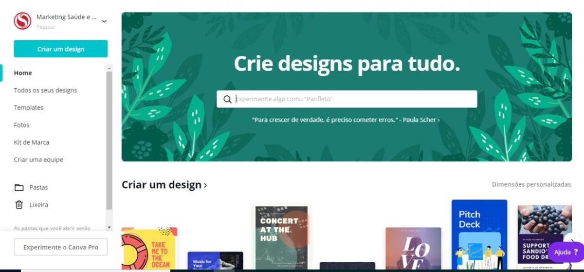 tela inicial canva - como criar sua própria logo